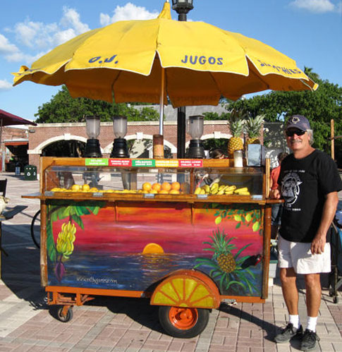 OJ Dave at Lemonade stand at Sunset Key West, Florida